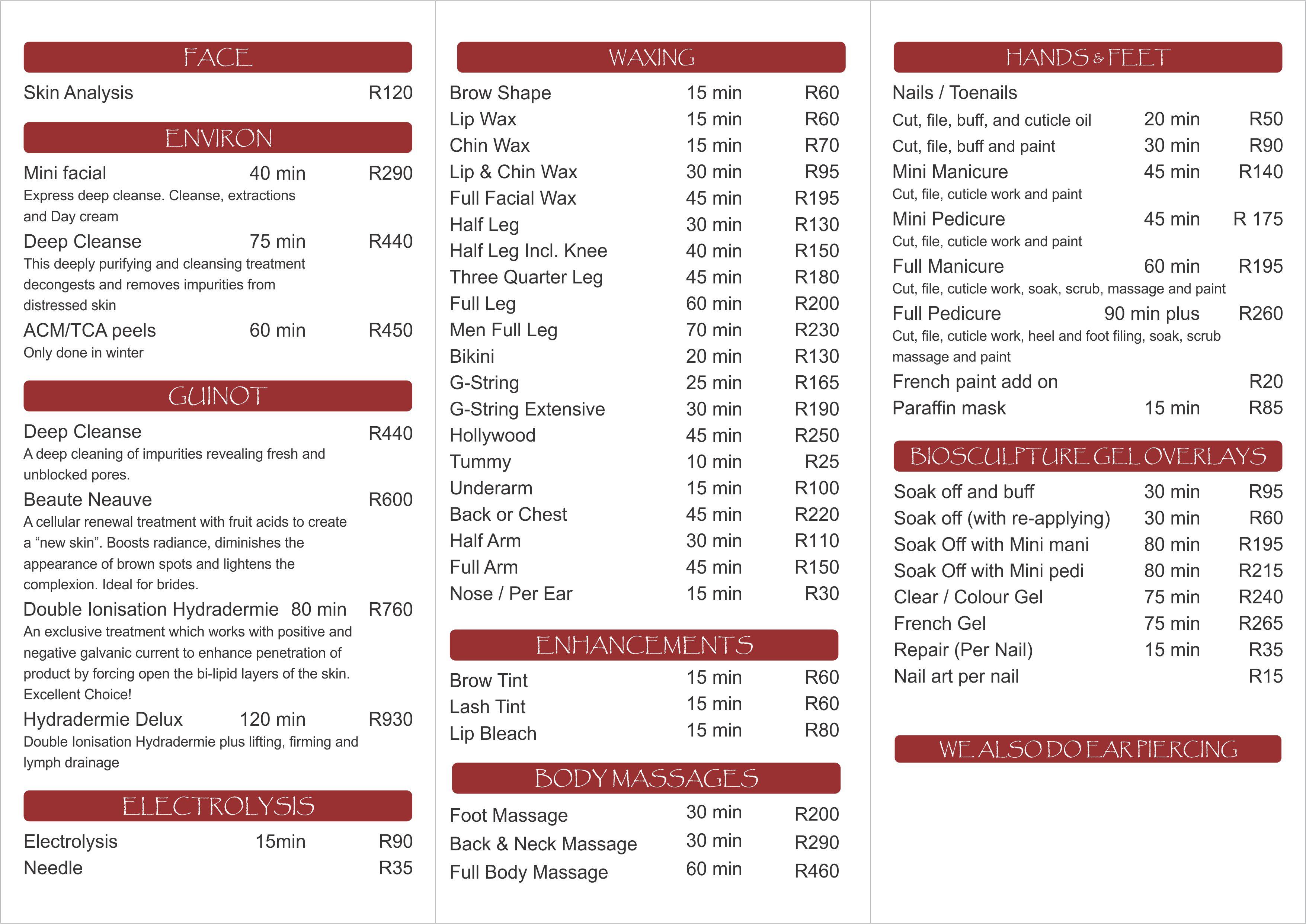 Price List – Salon anandie