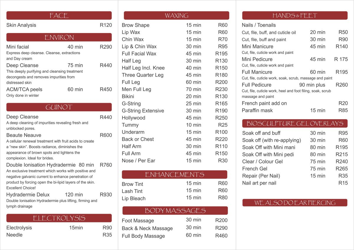 Price List Salon Anandie